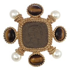 CINER Gold Roman Coin Brooch with Genuine Tiger's Eye and Pearl Cabochons