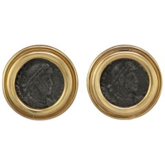 CINER Gold Roman Coin Button Earring