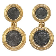 CINER Gold Roman Coin Double Button Earring