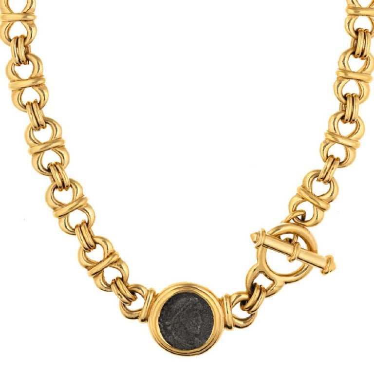 With a Roman inspired coin motif, this necklace will be a timeless addition to your jewelry collection.  PLEASE NOTE: The pieces available are not vintage and are not reproductions. CINER uses original models to produce our jewelry today.  The Coin