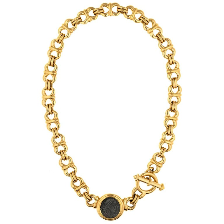 CINER Gold Roman Coin Necklace  For Sale