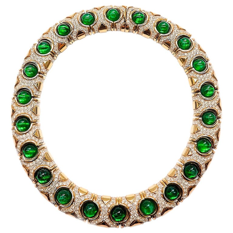 CINER Gold Royalty Necklace with Crystal Rhinestones and Emerald Cabochons