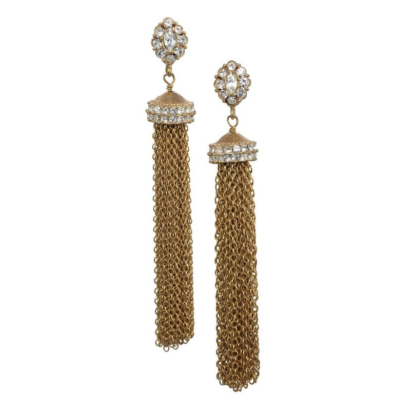 Contemporary CINER GOLD Tassel Clip On Earring For Sale