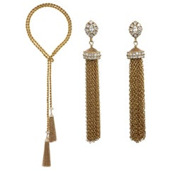 CINER Gold Tassel Necklace and Earring Set