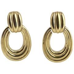 Ciner Gold Tone Door Knocker Earrings