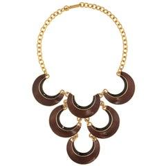 CINER Gold with Black and Tortoise Enamel Crescent Necklace
