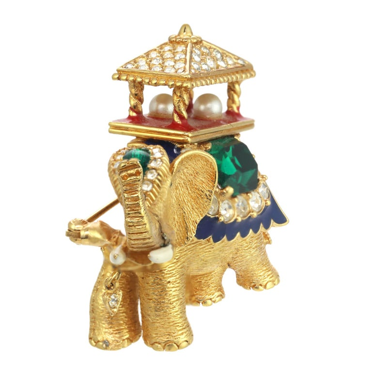 Contemporary CINER Golden Elephant with Pagoda Brooch For Sale