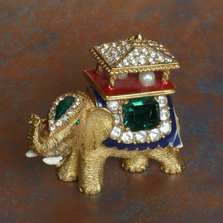 Women's or Men's CINER Golden Elephant with Pagoda Brooch For Sale