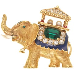 CINER Golden Elephant with Pagoda Brooch