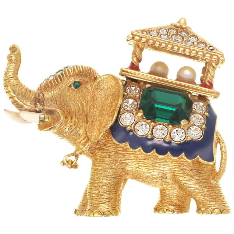CINER Golden Elephant with Pagoda Brooch For Sale