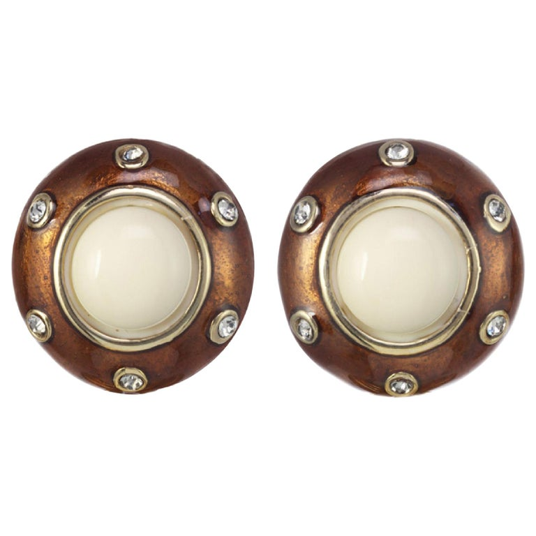 CINER Golden Motley Earring with Tortoise Enamel and Ivory Cabochon