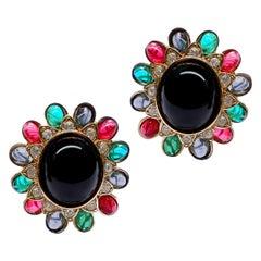 CINER Golden Sapphire Ruby Emerald Vintage Inspired Earrings