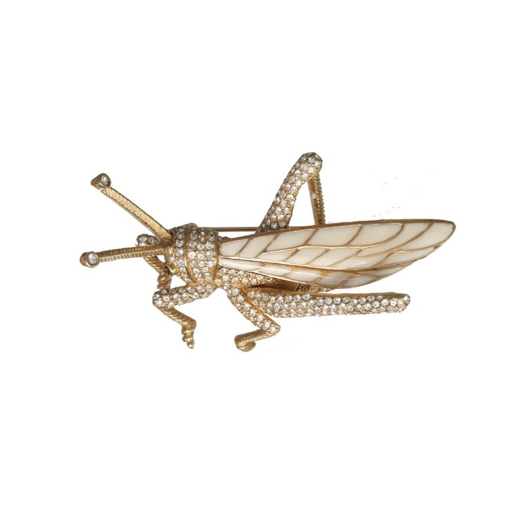 Contemporary CINER Grasshopper Brooch with Ivory Enamel and Crystal Rhinestones For Sale