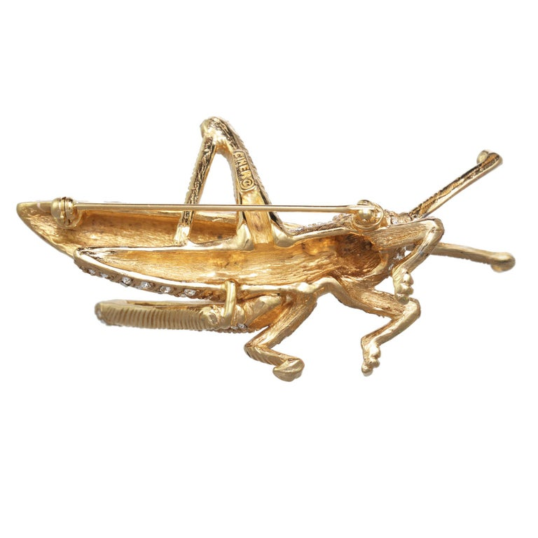 CINER Grasshopper Brooch with Ivory Enamel and Crystal Rhinestones In New Condition For Sale In New York, NY