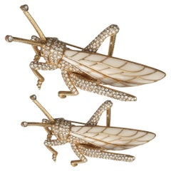 CINER Grasshopper Brooch with Ivory Enamel and Crystal Rhinestones