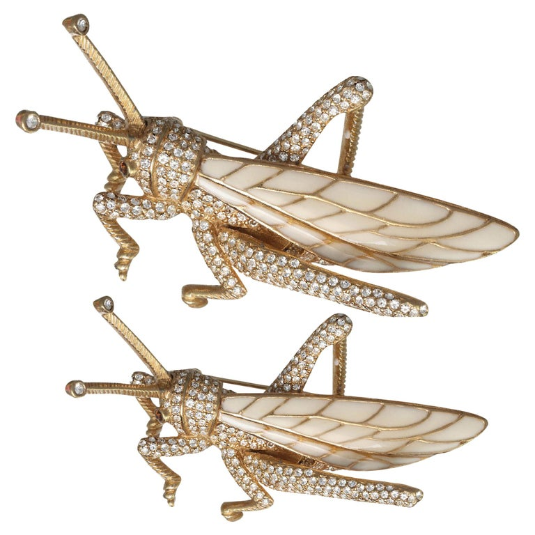 CINER Grasshopper Brooch with Ivory Enamel and Crystal Rhinestones For Sale