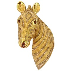 Ciner Horse Head Pin Brooch with Swarovski Crystals New, Never Worn 1980s