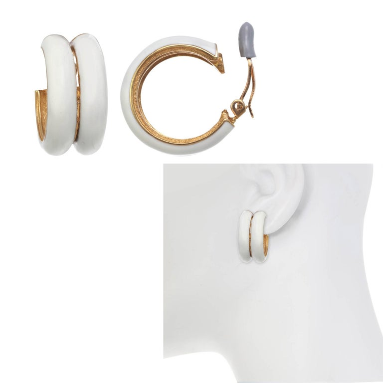 Contemporary CINER Ivory Double Hoop Clip Earring For Sale
