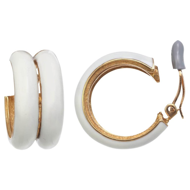 CINER Ivory Double Hoop Clip Earring For Sale