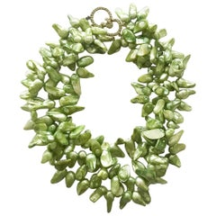 CINER Lime Green Semi-Precious Freshwater Pearl Necklace