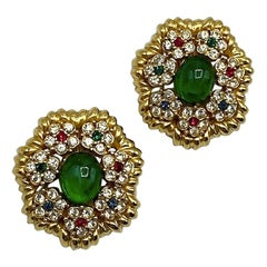 Ciner Mughal Style Gold Button Earrings with Green Cabochon & Rhinestones