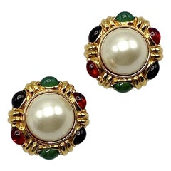 Ciner Mughal Style Gold Button Earrings with Pearl, Red, Blue & Green Stones