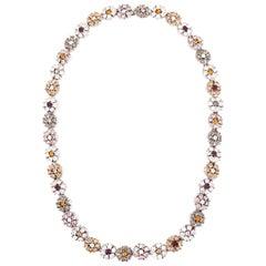 CINER Multi Rhinestone Floral Necklace