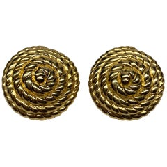 Ciner Nautical Coiled Rope Gold Button Earrings