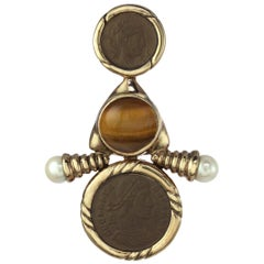 CINER Nautical Gold Roman Coin Pin with Genuine Tiger's Eye and Pearl Cabochons