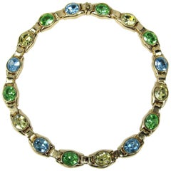Ciner Necklace Green Blue & Yellow swarovski Crystal New,  Never Worn -1980s