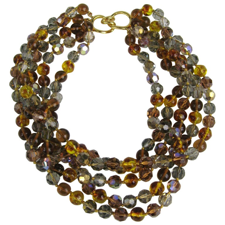 Ciner Ombre Multi strand Bead Necklace 1980s New, Never Worn For Sale