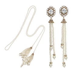 CINER Pearl Tassel Necklace and Earring Set