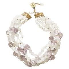CINER Rainbow Quartz and Light Amethyst Semi-Precious Necklace
