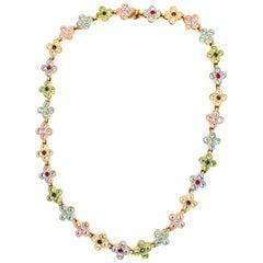 CINER Rhinestone Encrusted 4 Petal Flower Necklace