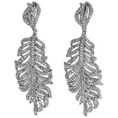 CINER Rhodium Rhinestone Encrusted Statement Feather Earring