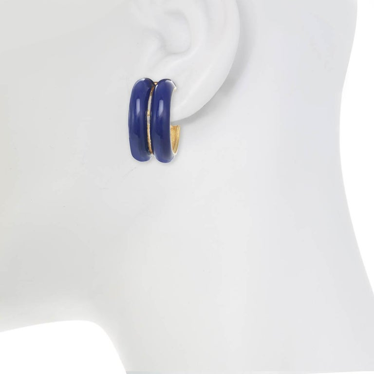 The Double Hoop Earring, from Ciner's Pop collection, is the perfect piece to wear from day to night!  Materials:  Pewter  18K Gold Plating  Clip Backing  Dimensions: Length: 1