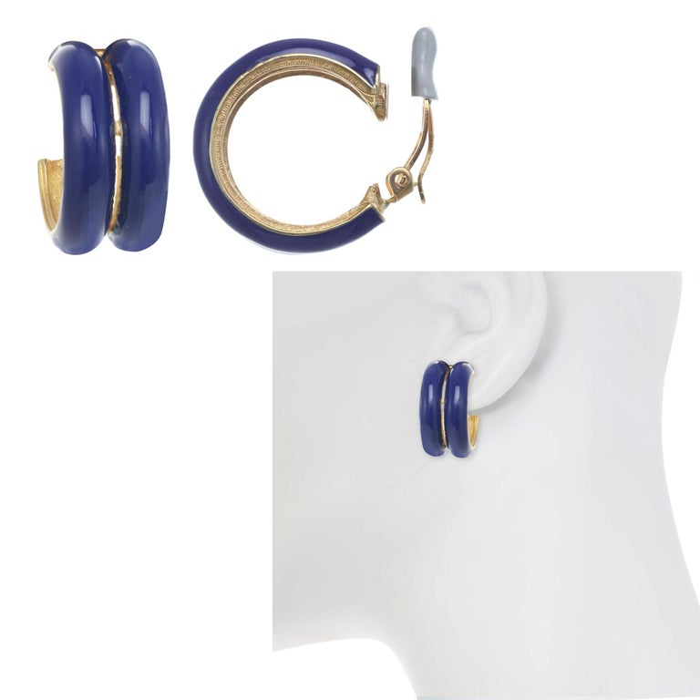 Contemporary CINER Royal Blue Double Hoop Clip Earring For Sale