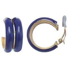 CINER Royal Blue Double Hoop Clip Earring