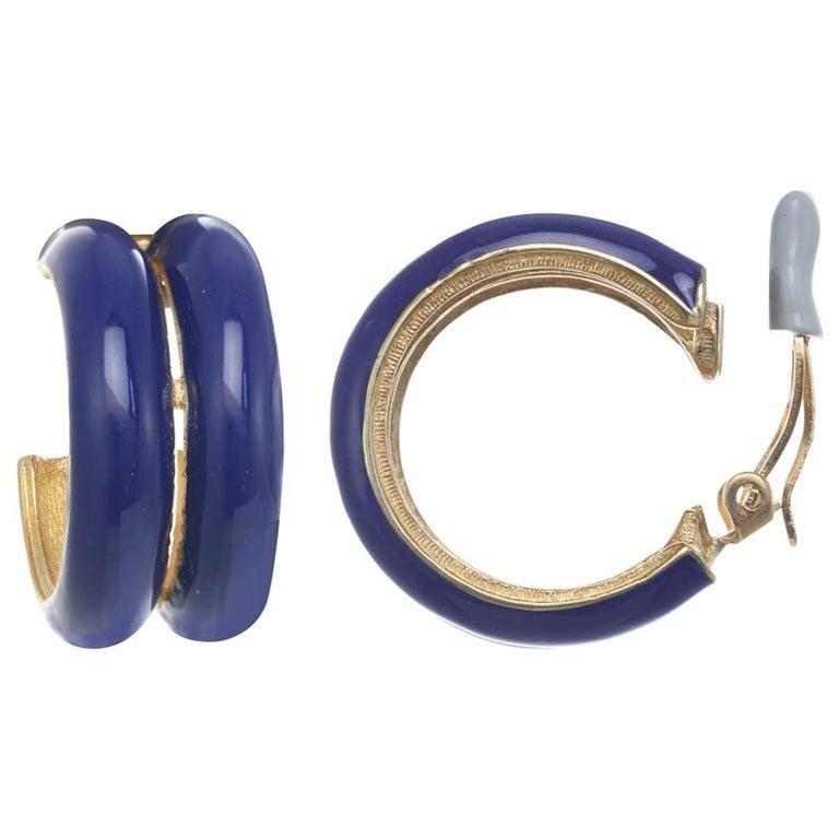 CINER Royal Blue Double Hoop Clip Earring For Sale