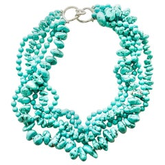 CINER Semi-Precious Turquoise Torsade Necklace