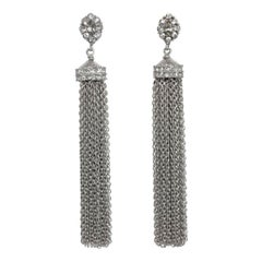 CINER Silver Tone Tassel Clip On Earring