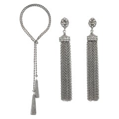 CINER Silver Tone Tassel Necklace and Earring Set