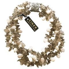 CINER Smokey Quartz and Fresh Water Pearl Semi-Precious Necklace