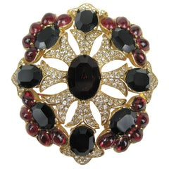 Ciner swarovski Brooch - Pendant  black & Red, New Never worn -1990s
