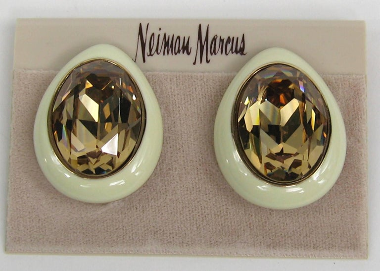 Ciner Swarovski crystal earrings New, Never worn 1980s In New Condition For Sale In Wallkill, NY