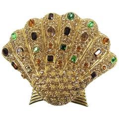 Ciner Swarovski Crystal Sea Shell Brooch Pin Never Worn -1980s