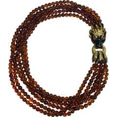 Ciner Torsade Necklace with Lion Head Clasp