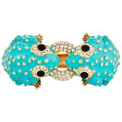 CINER Turquoise Double Head Frog Bracelet with Crystal Rhinestones and Jet Eyes