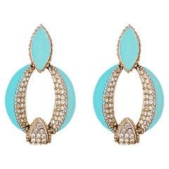 CINER Turquoise Enamel Art Deco Door Knocker Earring with Crystal Rhinestones