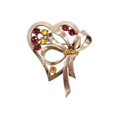 Ciner Vermeil Heart and Bow Pin Brooch, Citrine and Ruby Crystals, Sterling